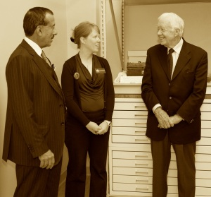 Dr. Khalaf Al Habtoor (pictured left) dedicated the new archives at Illinois College on October 13, 2014. The following day, he invited former President Jimmy Carter to tour the new facility.